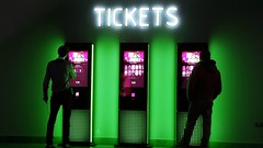 Make your mind up time.... (markwilkins64) Tags: london cinema tickets neonlights people streetphotography street candid colourful green markwilkins atmospheric neon