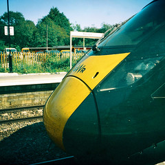 Ricoh Auto 126 (camera_holic) Tags: ricoh auto 126 boots colour high definition film kemble station train rail railway c41 square format expired platform cirencester glos gloucestershire cotswolds thames path gwr iet intercity express nose