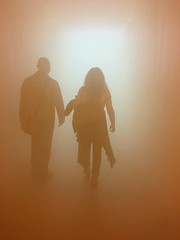 'Your Blind Passenger' (esallen52) Tags: people fog mist silhouettes art gallery exhibition artwork light walk couple