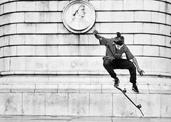 Skater (rainerneumann831) Tags: bw blackwhite street streetscene ©rainerneumann urban monochrome candid city streetphotography blackandwhite skater lisboa lissabon