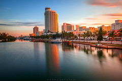Sunrise in Miami (dannygreyton) Tags: usa miami miamibeach canong1xiii canon florida sunrise skyline reflection longexposure longexposureshot boats goldenhour