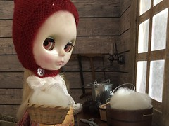 6. By the window (Foxy Belle) Tags: diiorama barn animal chick chicken room dollhouse miniature 19th century primitive old fashioned peasant 16 scale doll toy window scrap book paper red boots skirt apron blythe russian matryoshka maiden playscale work pixis hat wool