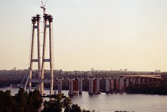 Dnipro and the unfinished bridge (pgndck) Tags: bridge landscape film water river sky sunset nature industrial zaporizhzhya ukraine