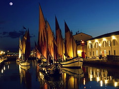 Cesenatico by night. (Susyfox ☺) Tags: night city water boats lights reflections colours moon coth coth5 susannaswonderwow
