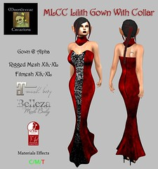 MLCC Lilith Gown With Collar Ad Pic (Moonlitecat Creations) Tags: mlcc lilith gown dress collar elegent dark and brooding hunt pounce hunts maitreya belleza slink fitmesh
