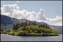11th of May 2019 (Paul of Congleton) Tags: may 2019 derwent water keswick cumbria lakedistrict england uk lake island woods trees spring clouds sky olympus om4ti 35mm colour negative film