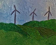 Landscape with wind generators (giart1) Tags: landscape windgenerator wind energy source nature art artist acrylic painting