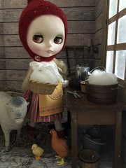 """7. BaD """"Red"""" September 17, 2019 (Foxy Belle) Tags: diiorama barn animal chick chicken room dollhouse miniature 19th century primitive old fashioned peasant 16 scale doll toy window scrap book paper red boots skirt apron blythe russian matryoshka maiden playscale work pixis hat wool"""