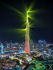 Dubai Aurora (DanielKHC) Tags: uae dubai burjkhaifa laser show emaar dubaimall light green cityscape architecture nikon d850 night tallesttowerintheworld