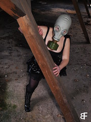 Gothic Girl (baumfinder) Tags: abandoned verlassen verfall decay girl gasmask dress boots leather latex legs sanatorium roof dachboden gothic