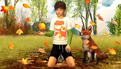 Autumn feeling (mikebastlir) Tags: secondlife virtual world kid child childhood autumn fox animal leaves colours nature grass feeling fall friendship