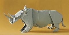 Rhinoceros (日輪富 Philogami) Tags: origami satoshi kamiya philogami momigami paper art animal rhinoceros folding
