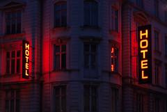 Hotel Copenhague (Alberto Sen (www.albertosen.es)) Tags: neon red hotel night noche travel viaje copenhague albertosen alberto sen street calle streetphotography somewhere windows mistery