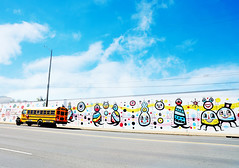 Is it? (kirstiecat) Tags: schoolbus streetart nashville america usa tennessee art sky blue colors colours mood atmosphere feeling whimsical itsgonnabeok