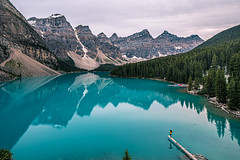 Moraine Lake - Alberta, Canada - Travel photography (Giuseppe Milo (www.pixael.com)) Tags: photo landscape nature water moraine outdoor lake weather clouds reflection blue girl green hiking travel alberta photography woman sky canada peak yellow geotagged mountain improvementdistrictno09 onsale