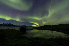 Walnut Whip (Griff~ography) Tags: iceland jökulsárlón icelagoon auroraborealis northern lights stars night sky water reflection