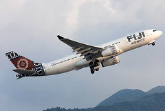 DQ-FJT Fiji Airways A332 (twomphotos) Tags: plane spotting hkg vhhh departure rwy25l evening backdrop mountains climbing out fiji airways airbus a332 bestofspotting