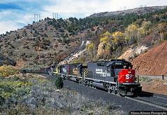 Colorful Consist (jamesbelmont) Tags: southernpacific rvkcm rednarrows spanishforkcanyon utah emd sd40t2 ge c307 b408 train railroad railway locomotive tunnelmotor speedlettering