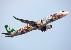 B-16207 Eva Air A321 (twomphotos) Tags: plane spotting hkg vhhh departure rwy25l evening backdrop mountains climbing out eva air airbus a321 hello kitty speciallivery colorfullspecial bestofspotting