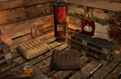 ..::THOR::.. The Buddies Shed - Mancave Event - September Round - Detail 1 (andraus thor) Tags: fall mancave sl metaverse 3d shack shed buddies pallets dyi eggnog spices stove warmer heater bench thor pose props outdoor home garden furniture drink friendly secondlife