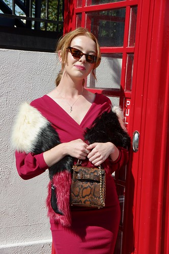 Fur Stole, Red Dress