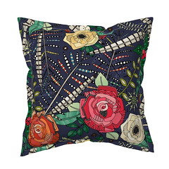 boho winter floral midnight serama throw pillow (Scrummy Things) Tags: sharonturner scrummy illustration christmas festive foliage berries roses throwpillow cushion pillow spoonflower catalan indigo boho decor bohemian feathers pheasantfeathers