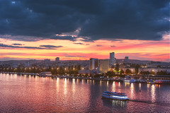 (dnikishovphoto) Tags: saratov city cityscape land landscape water waterscape evening blue hour goldenhour golden sun sunset sky cloud clouds cloudy night nightfall boat bridge reflections reflection lights