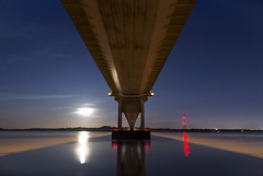 Harvest Moon (Roger.C) Tags: moon monmouthshire moonlight harvestmoon reflection reflections beauty bluehour bridge severn severnbridge riversevern river wales wfc welshnikonusers motorway m48 nikon sky seascape d610 tamron 2470