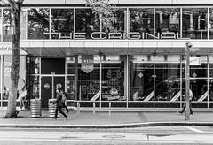 City Scene The Original (Orbmiser) Tags: nikon28105mmf35f45afd d500 nikon oregon portland bw cityscape sidewalk