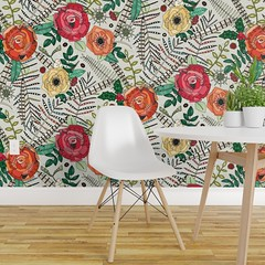 boho winter floral chalk isobar wallpaper (Scrummy Things) Tags: sharonturner scrummy illustration christmas festive wallpaper isobar roses feathers berries boho bohemian spoonflower roostery commercialwallpaper