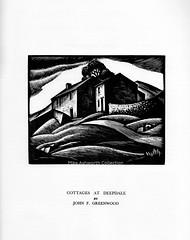 Cottages at Deepdale -  - wood engraving by John F Greenwood, c1934 (mikeyashworth) Tags: johnfredericgreenwood jfgreenwood woodengraving woodcut 1934 illustration mikeashworthcollection deepdale wharfedale northyorkshire yorkshire westridingofyorkshire landscape cottage lundhumphries