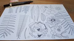 boho winter floral WIP (Scrummy Things) Tags: sharonturner scrummy illustration christmas festive wip workinprogress pen flora floral leaves flowers surfacedesign