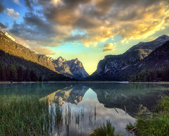 Transient reflections (Gio_guarda_le_stelle) Tags: dolomiti dolomites dolomiten mountainscape landscape sunset clouds evening sky lake reflection italy