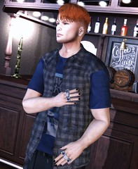 ♪ Tidal waves they rip right through me Tears from eyes worn cold and sad Pick me up now, I need you so bad  Down, down, down, down ♫ (ThiegoFire) Tags: male chucksize cult locktuft boy sl secondlife lights bar drink rings outfit signature red redhead backdropcove catwa