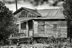 Abandoned House, Abandoned Rambler (Robert_Brown [bracketed]) Tags: robertbrown photography pinosaltos newmexico nm blackandwhite car rambler abandon abandoned dilapidated gilanationalforest house home