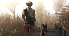 ᴅᴏɢ ᴅᴀʏs (ѕєαи) Tags: sl second life secondlife sun shadow fov moody dog gs german shepherd shorts hat tattoo plants marsh vango flow kalback speakeasy jian