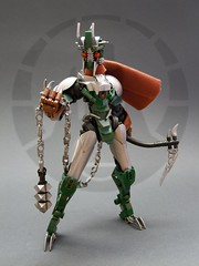 Toa Nidhiki - The Betrayer (Djokson) Tags: bionicle lego moc toy model toa metru warrior ninja kamen rider tokusatsu armor knight fighter green silver brown scarf scythe kusarigama chain flail bug insect insectoid mangai