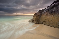Porthminster Point, St Ives (Julian Barker) Tags: porthminster point st ives cornwall godrevy bay sea seahore sunrise dawn movement wave motion turquoise rock beach sand long exposure sky dark brooding glow julian barker canon dslr 5d mkii kernow england uk europe