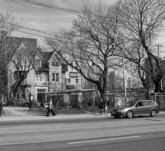 Toronto Ontario - Canada - Factory Theatre - Architecture - Queen Anne -  Live Plays (Onasill ~ Bill Badzo - 67 M) Tags: factortheatre first canadian plays playwrights adelaide av e bathurst toronto ontario canada walker gundry langley onaasill downtown heritage historic 1869 john mulvey house mansion architecture style queenanne gothic building mono bw entertainment mustsee live vintage old people street scene urban kodak