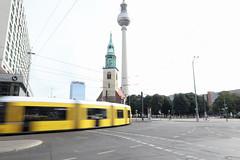 Tram Berlin (chris.branruz) Tags: berlin urban fernse fernsehturm tramway mitte church city street tram kirch eglise karlliebknechtstrasse rue strasse