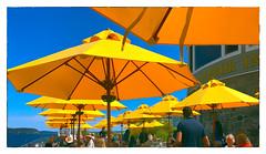 Lunch at Bar Harbor Inn (Timothy Valentine) Tags: umbrellas hct people camera2 maine sky fbpost 0819 yellow 2019 vacation barharbor unitedstatesofamerica