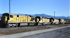 Union Pacific C30-7 and SD40-2 locomotives at San Bernardino in 1982 0740 (Tangled Bank) Tags: train railroad railway old classic heritage vintage history historical north american equipment stock union pacific c307 sd402 locomotives san bernardino 1982 0740