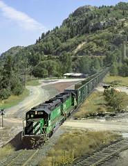 Northport WA Tuesday August 20th 1991 1150PDT (Hoopy2342) Tags: train rail railroad railway burlingtonnorthern northport wash washington columbiariver