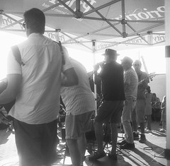 Cockle Rockers on stage at the Leigh Regatta (Dee Gee Arr) Tags: film blackandwhite blackwhite fp4 ilford mediumformat 120 home developed caffenol caffenolcm mamiya6iv filmdev12323 filmdev:recipe=12323 ilfordfp4125 film:brand=ilford film:name=ilfordfp4125 film:iso=125