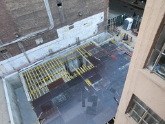 Now Metal Plates - Building Construction Next Door 1532 (Brechtbug) Tags: street new york city nyc building architecture square traffic near manhattan space parking lot midtown 350 transit cube be times now 45th 2019 352 09172019 auto park 1920s red house brick green cars car wall fence construction apartments apartment steel shed september beam beams lots apts brownstone