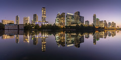 Austin Skyline (Amar Raavi) Tags: austin skyline panorama coloradoriver skyscraper cityscape architecture sky city urban waterfront buildings dawn sunrise longexposure illuminated river water outdoors travel nopeople thelonestarstate atx texas usa
