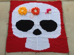 The cutout standing in for a completed fork embroidery flower (crochetbug13) Tags: dayofthedead crochet crocheted crocheting crochetyarnbomb crochetflower largecrochetflower yarn dayofthedeadcrochetchart