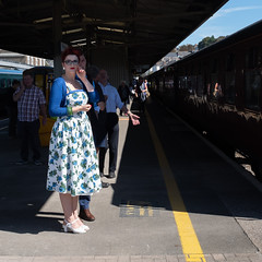 Plymouth Station (velodenz) Tags: velodenz fujifilmx100f steam excursion bristol fowey duchessofsutherland plymouth station blue floral dress red lips beauty woman female lady 1000views 1000 views