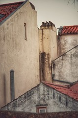 Rooftops of Alfama (ValterB) Tags: 2019 portugal lisbon lisboa valterb nikond90 nikkor nikon architecture abstract arteurbana red roof rooftop building buildings pastel colors colour color sky shadow street window