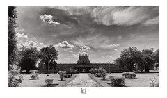 Garden , Temple and Sky (krishartsphotography) Tags: krishnansrinivasan krishnan srinivasan krish arts photography fineart fine art sky clouds gopuram entrance path way trees plants grass darasuram airavatesvaratemple tamilnadu india affinity photo canon silver efex pro dxo